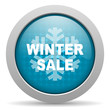winter sale blue circle web glossy icon