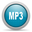 mp3 blue circle web glossy icon