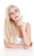 Schöne attraktive Frau mit blonden Haare - isoliert