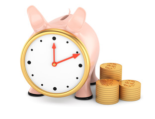 piggybank with clock face and stack of gold coins