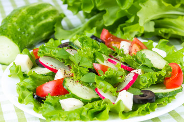 Spring salad with fresh vegetables