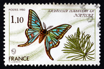 Postage stamp France 1980 Spanish Moon Moth