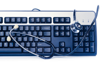 Blue computer keyboard with stethoscope