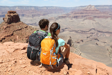 Hikers in Grand Canyon enjoying view