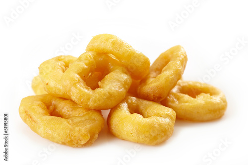 fried rings calamari on white background