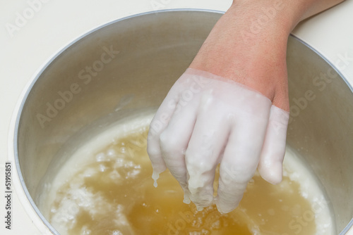 Physical therapy treatment and beauty,Hand in paraffin bath