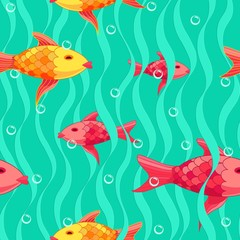 Red and yellow fishes pattern