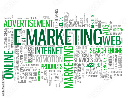 """E-MARKETING"" Tag Cloud (online advertising commerce business)"