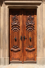 wooden door with ornaments