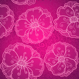 Ornate pink flowers vector seamless pattern