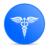 caduceus blue circle web glossy icon