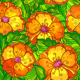 Ornate orange flowers vector seamless pattern