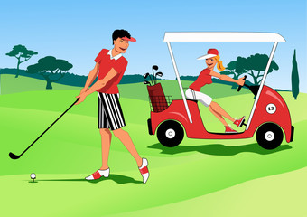 Couple at the golf course