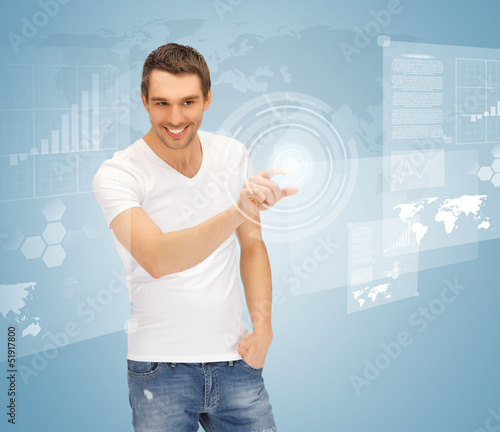 man touching virtual screen
