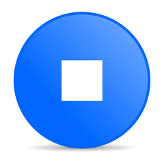stop blue circle web glossy icon