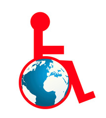 Vector illustration of a disabled person
