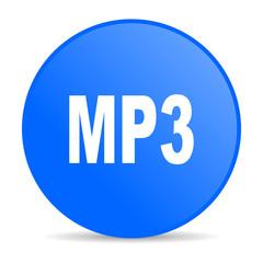 mp3 blue circle web glossy icon