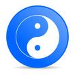 ying yang blue circle web glossy icon