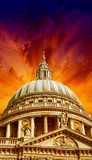 Wonderful sky colors over St Paul Cathedral - London