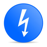 lightning blue circle web glossy icon