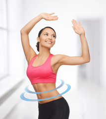 sporty woman in aerobic or dance movement
