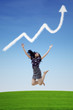 Businesswoman success jump on profit graph cloud