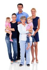 big family isolated on white