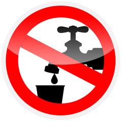 Sinal de proibição - Água imprópria para consumo