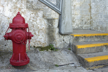 Red Fire Hydrant by the Staircase