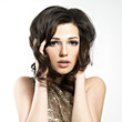 Beautiful brunette woman with style hairstyle