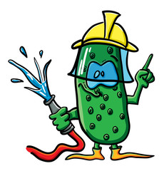 Funny cartoon cucumber is the firefighter