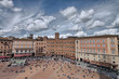 Wonderful aerial view of Piazza del Campo, Siena on a beautiful