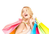 excited woman with shopping bags