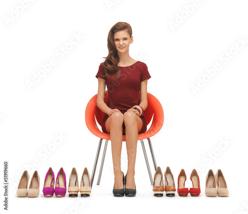 woman with high heeled shoes