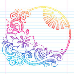 Hibiscus Tropical Flower Summer Vacation Sketchy Doodle Vector