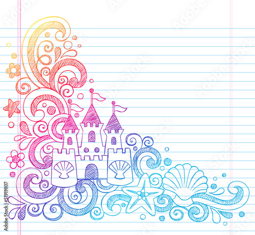 Sandcastle Summer Beach Vacation Sketchy Doodle Vector