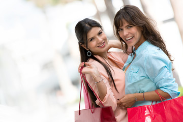 Happy shopping girls