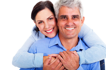 middle aged couple closeup portrait