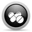 pills black circle web glossy icon