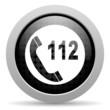 emergency call black circle web glossy icon