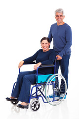 middle aged man and handicapped wife