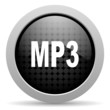 mp3 black circle web glossy icon