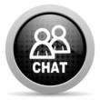 chat black circle web glossy icon