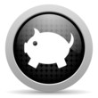 piggy bank black circle web glossy icon