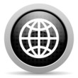 earth black circle web glossy icon
