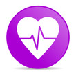 cardiogram violet circle web glossy icon