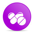 pills violet circle web glossy icon