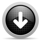 arrow down black circle web glossy icon