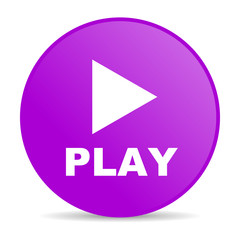 play violet circle web glossy icon