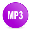 mp3 violet circle web glossy icon